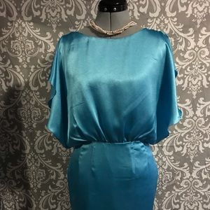 Beautiful Aqua Flutter-Side Calvin Klein Dress